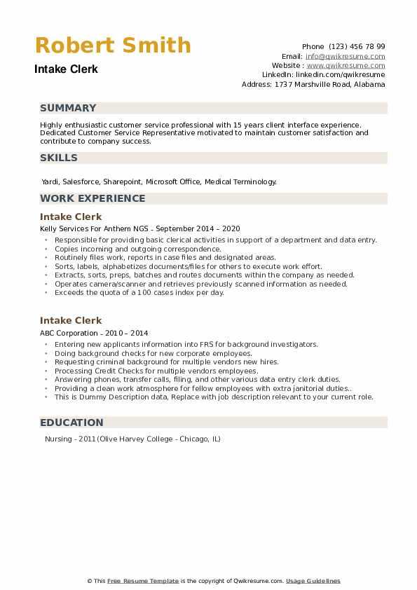 Intake Clerk Resume example