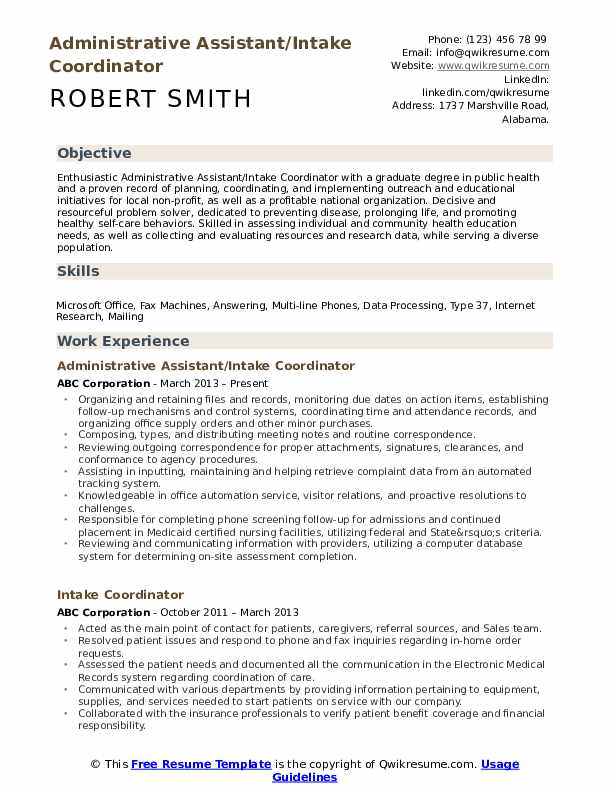 Administrative Assistant/Intake Coordinator Resume Template