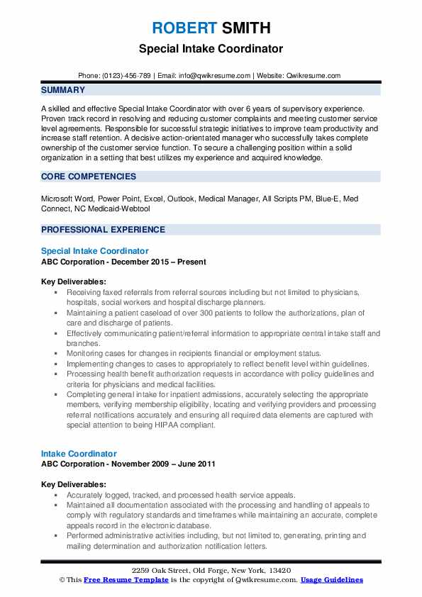 intake coordinator resume samples