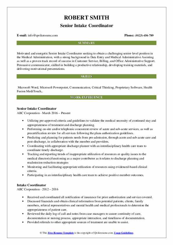 Senior Intake Coordinator Resume Model