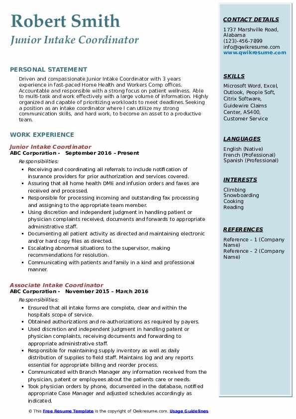 Junior Intake Coordinator Resume Example