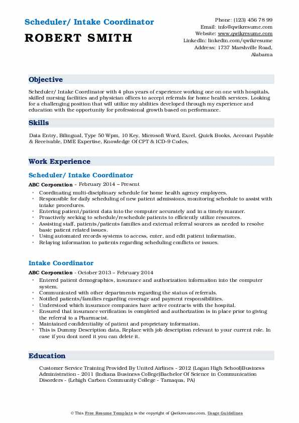 Scheduler/ Intake Coordinator Resume Example