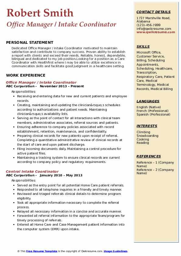 Office Manager / Intake Coordinator Resume Format