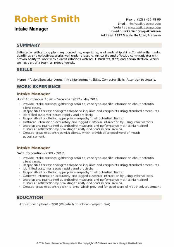 Intake Manager Resume example