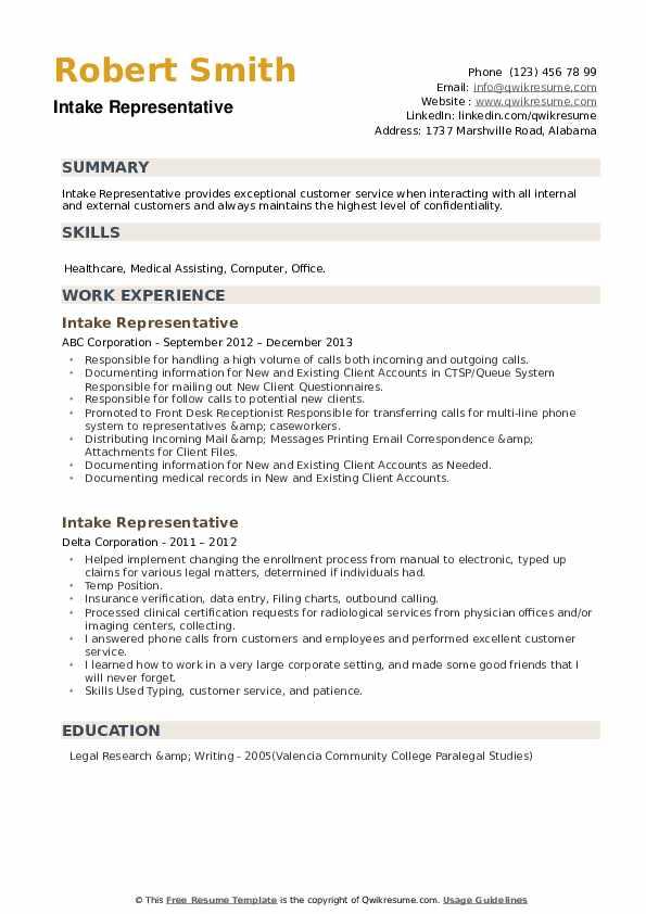 Intake Representative Resume example