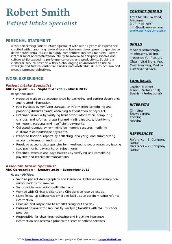 Intake Specialist Resume Samples Qwikresume