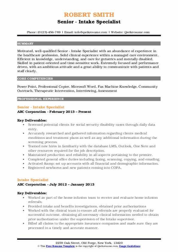 intake specialist resume samples