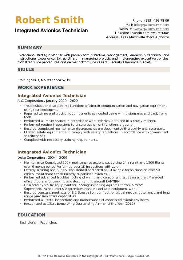 Integrated Avionics Technician Resume example