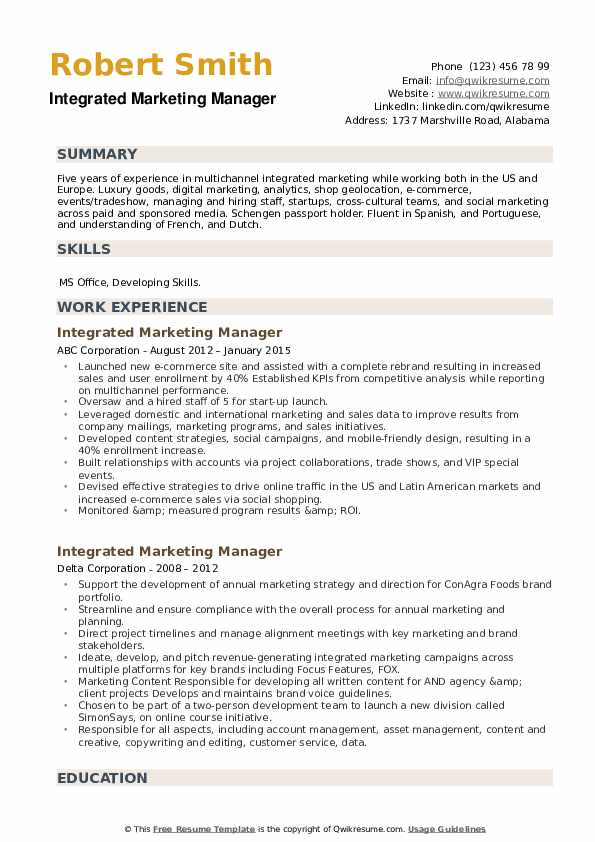 Integrated Marketing Manager Resume example