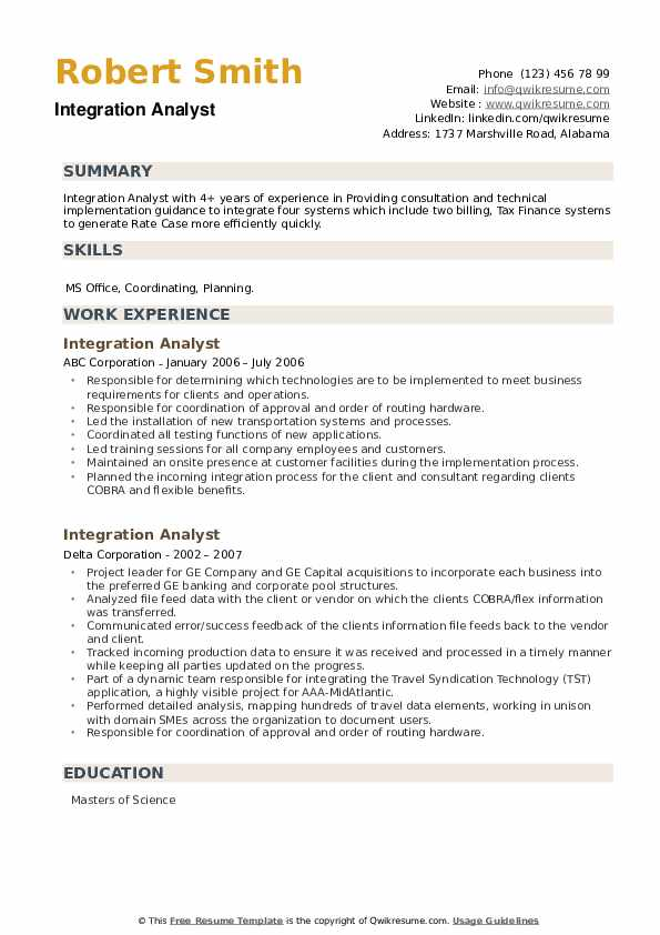 Integration Analyst Resume example