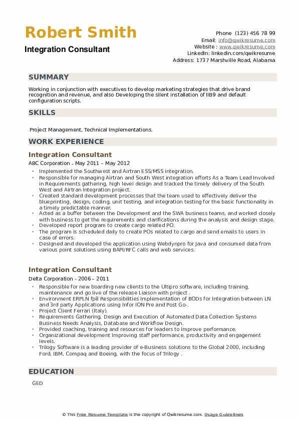 Integration Consultant Resume example