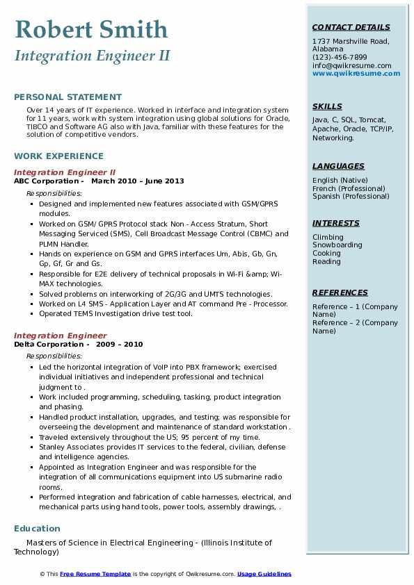 integration engineer resume samples