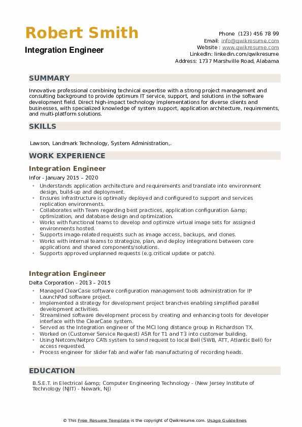 Integration Engineer Resume example