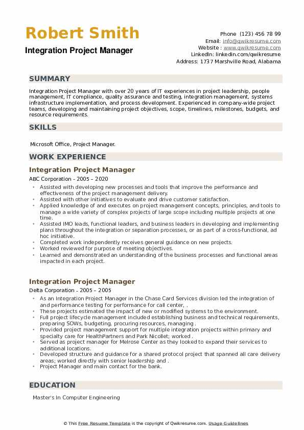 Integration Project Manager Resume example