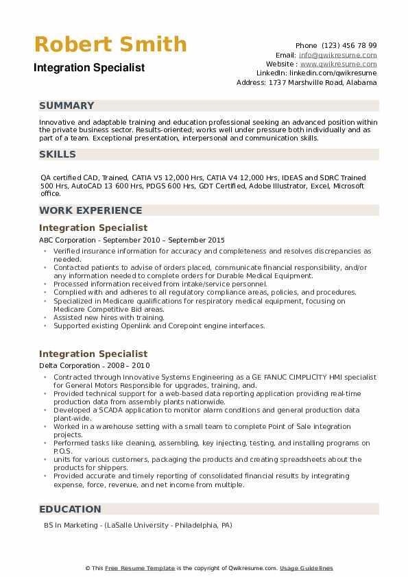 Integration Specialist Resume example