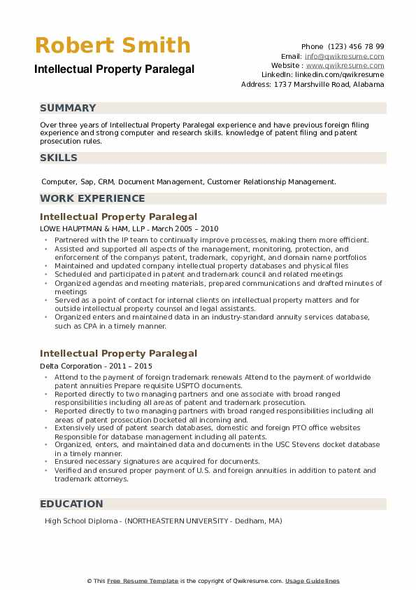 Intellectual Property Paralegal Resume example