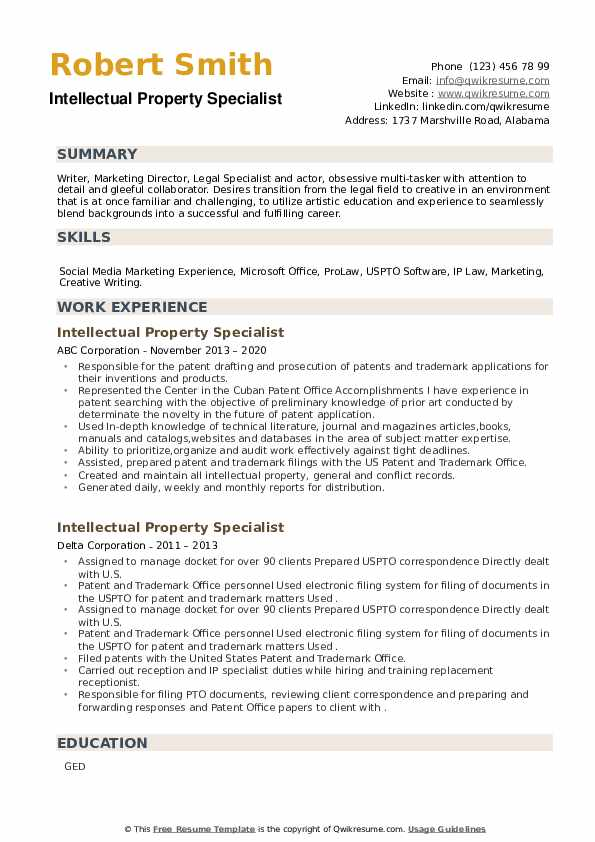Intellectual Property Specialist Resume example