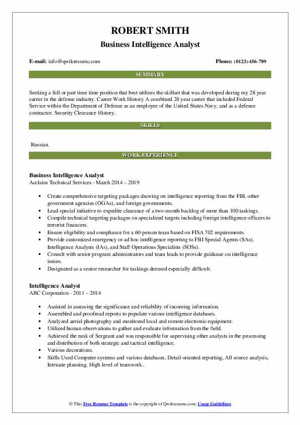 Intelligence Analyst Resume Samples | QwikResume