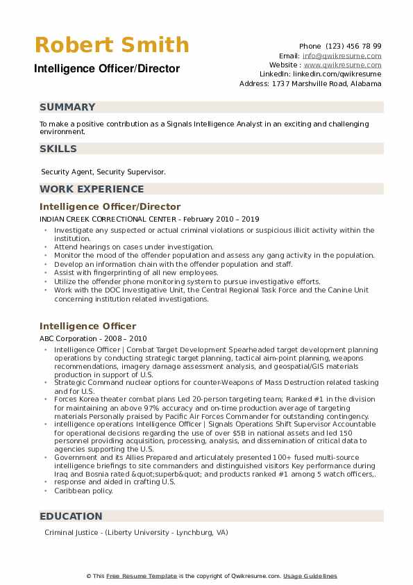 Intelligence Officer Resume example