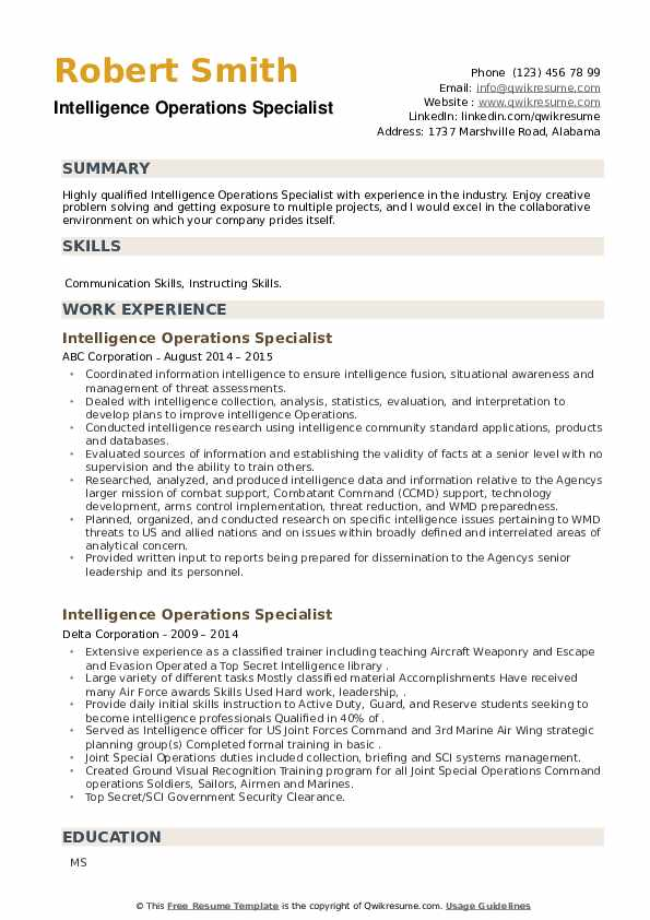 Intelligence Operations Specialist Resume example