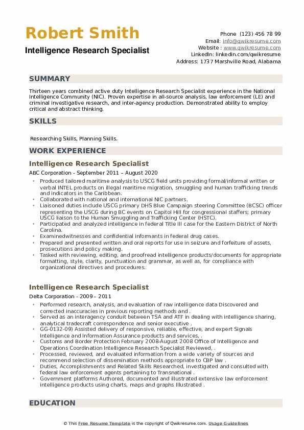 Intelligence Research Specialist Resume example