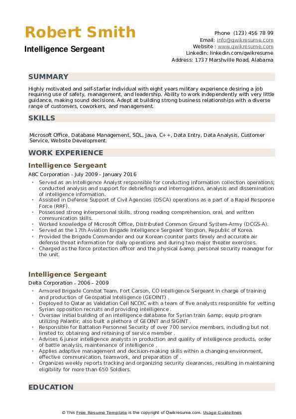 Intelligence Sergeant Resume example