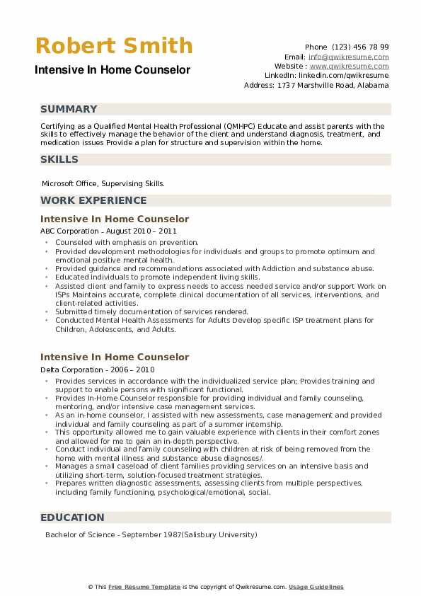 Intensive In Home Counselor Resume example
