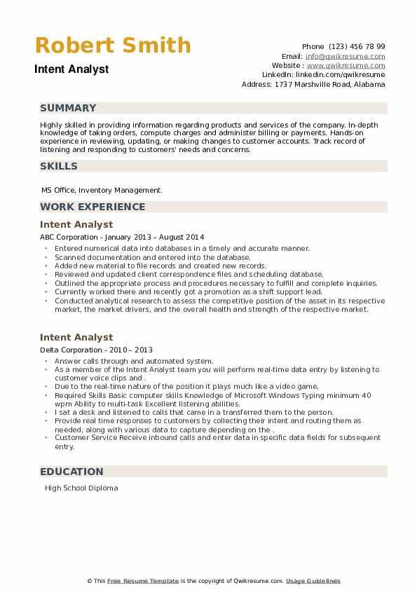 Intent Analyst Resume example