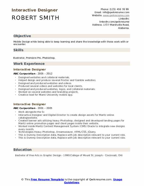 Interactive Designer Resume example