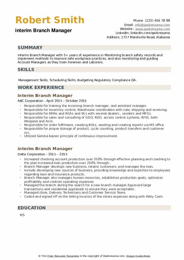 Interim Branch Manager Resume example