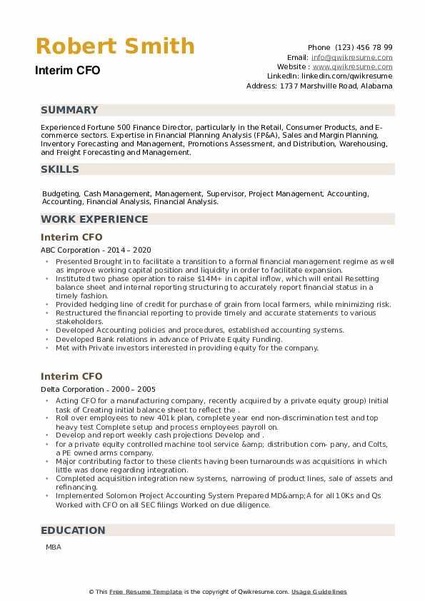 Interim CFO Resume example