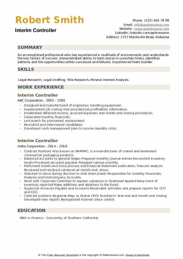 Interim Controller Resume example