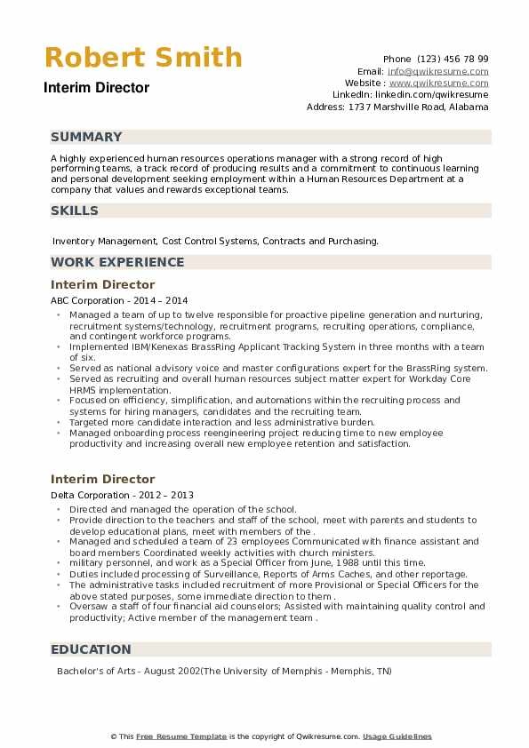 Interim Director Resume example