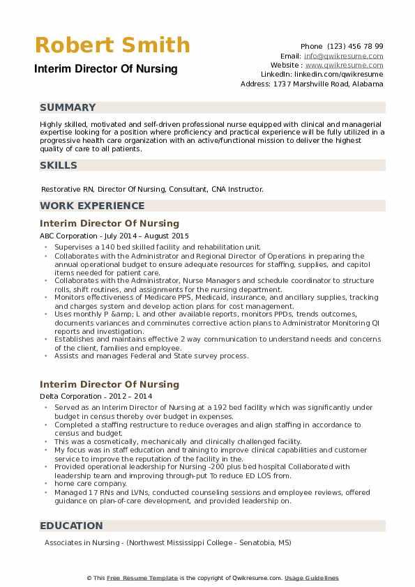 Interim Director Of Nursing Resume example