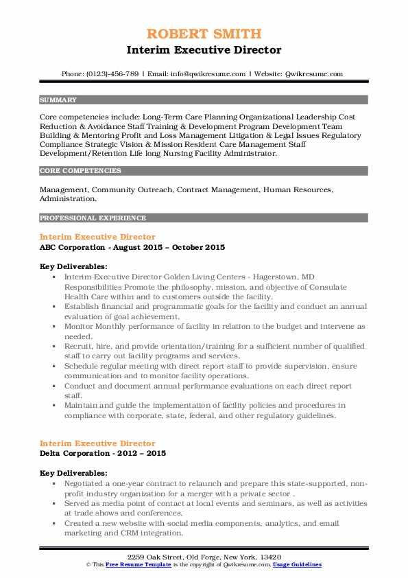 Interim Executive Director Resume example
