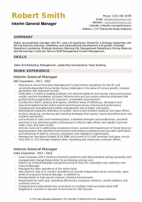 Interim General Manager Resume example