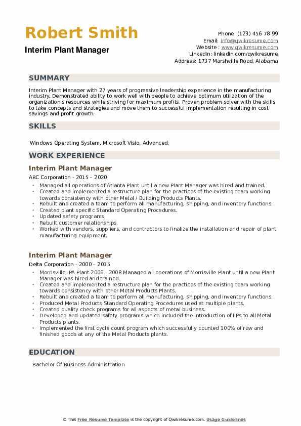 Interim Plant Manager Resume example