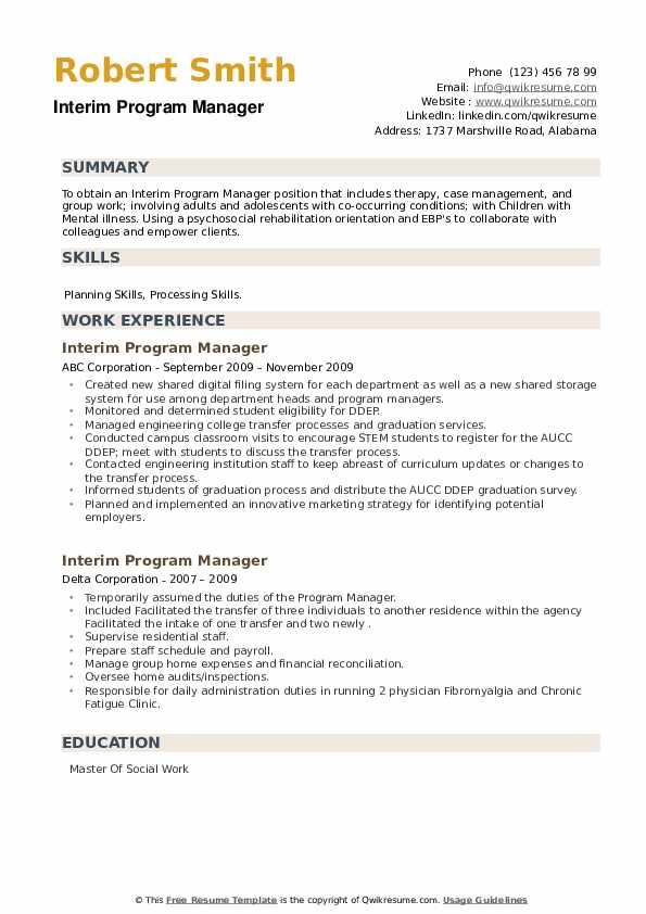 Interim Program Manager Resume example