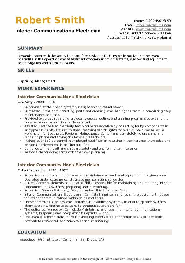 Interior Communications Electrician Resume example