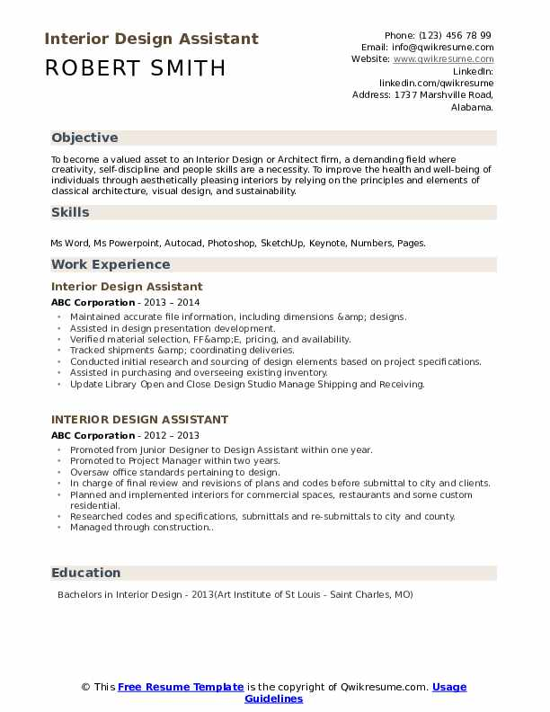 Interior Design Assistant Resume Samples Qwikresume