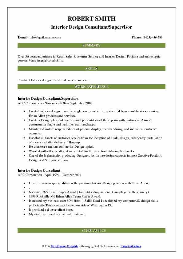 Interior Design Consultant Resume Samples Qwikresume