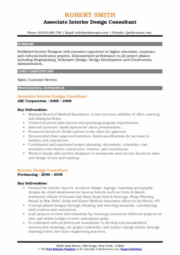 Senior Interior Designer Resume Samples Qwikresume