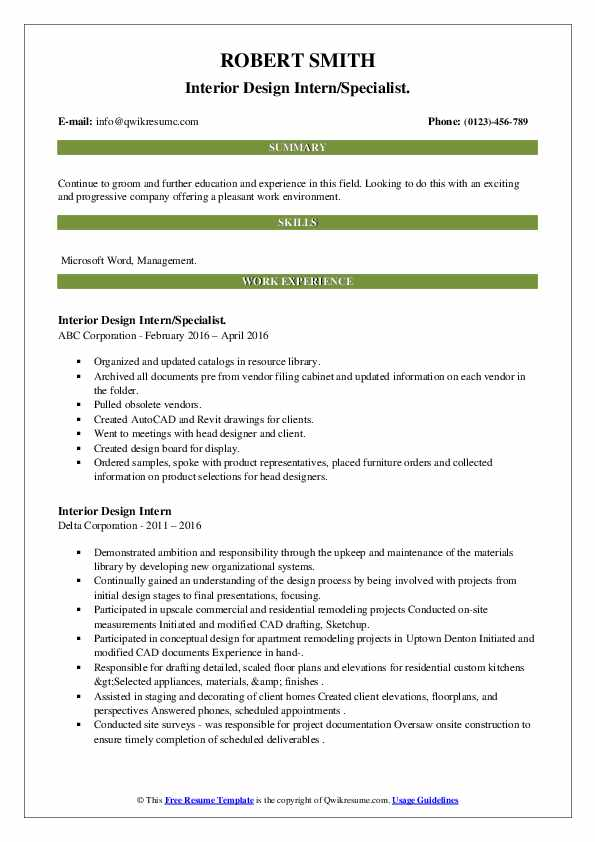 Interior Design Intern Resume Samples Qwikresume
