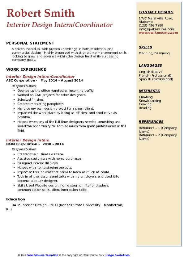 interior design personal statement for university students