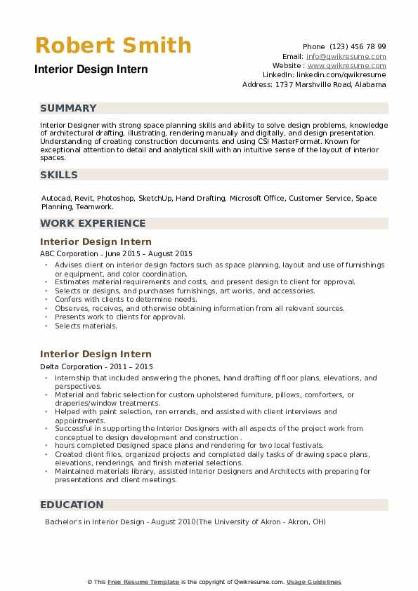 Interior Design Intern Resume Samples Qwikresume