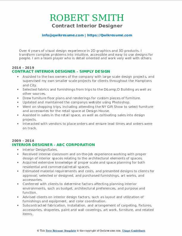 Contract Interior Designer Resume Model