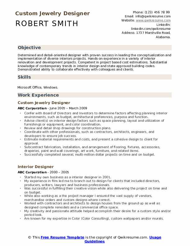 Interior Designer Resume example