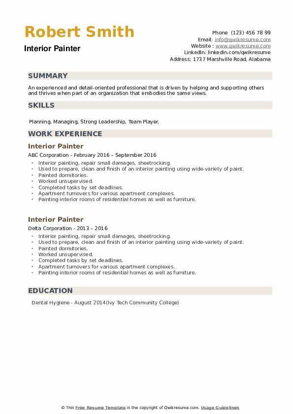 Interior Painter Resume example
