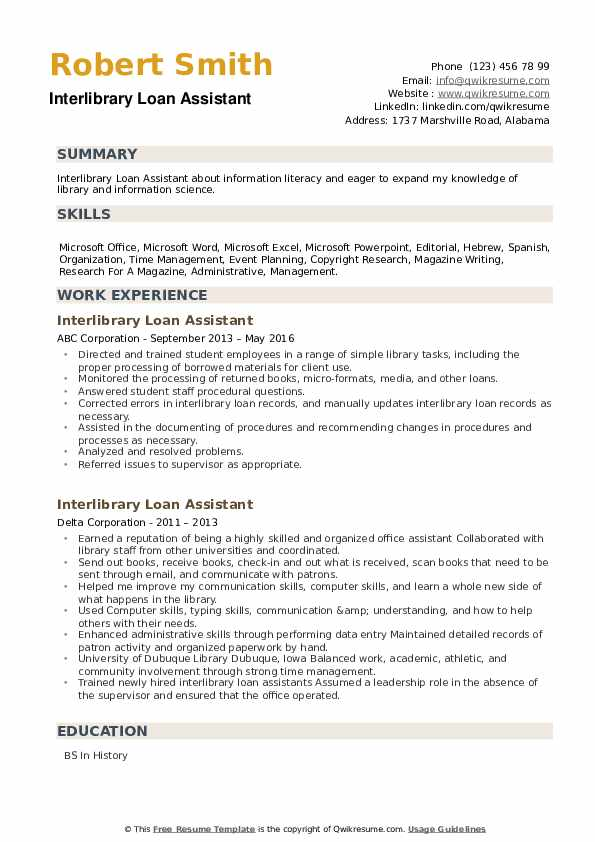 Interlibrary Loan Assistant Resume example