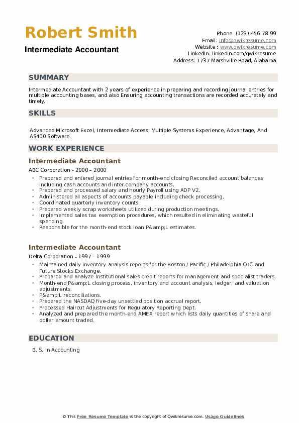 Intermediate Accountant Resume example